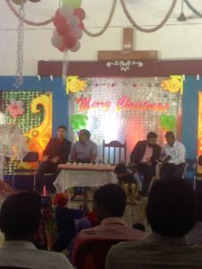 Christmas at the Mori GDM church, with Judah, Dr. Veerraju and Solomon.
